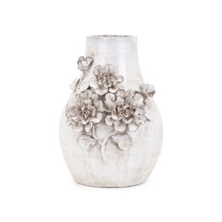 Transitional Ceramic Small Vase with Flower Motifs, White
