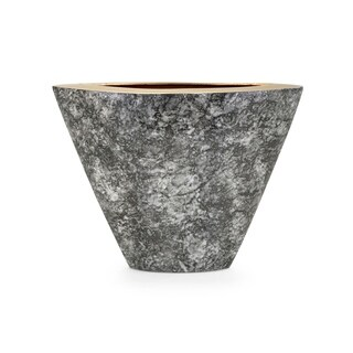 Round Aluminum Vase with Tapered Bottom, Gray and Gold, Small