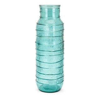 Large Wave Textured Recycled Glass Vase, Blue