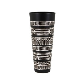 Bohemian Design Ceramic Vase with Tapered Bottom, Small, Black and White