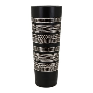 Bohemian Design Ceramic Vase with Tapered Bottom, Large, Black and White