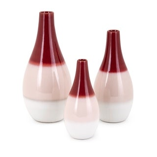 Contemporary Ceramic Vases with Ombre Glaze, Multicolor, Set of 3