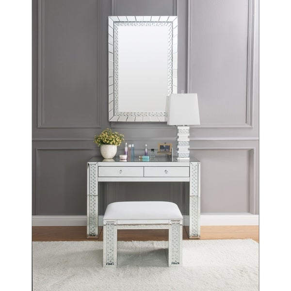 ACME Nysa Vanity Desk, Mirrored & Faux Crystals