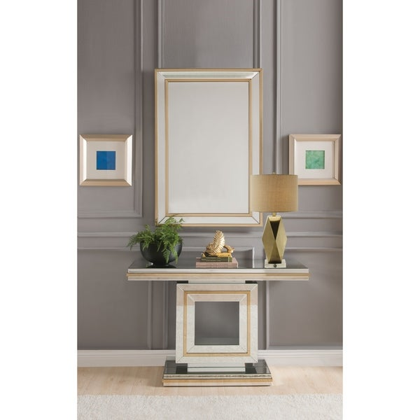 Shop ACME Osma Console Table, Mirrored & Gold