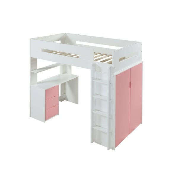 ACME Nerice Loft Bed, White & Pink Size - Twin