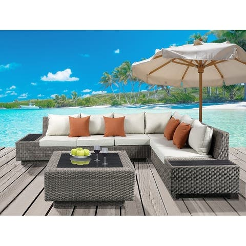ACME Salena Patio Sectional & Cocktail Table, Beige Fabric & Gray Wicker