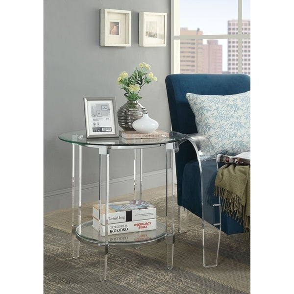 ACME Polyanthus End Table, Clear Acrylic, Chrome & Clear Glass