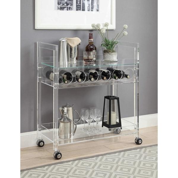 ACME Foxglove Serving Cart, Clear Acrylic & Clear Glass