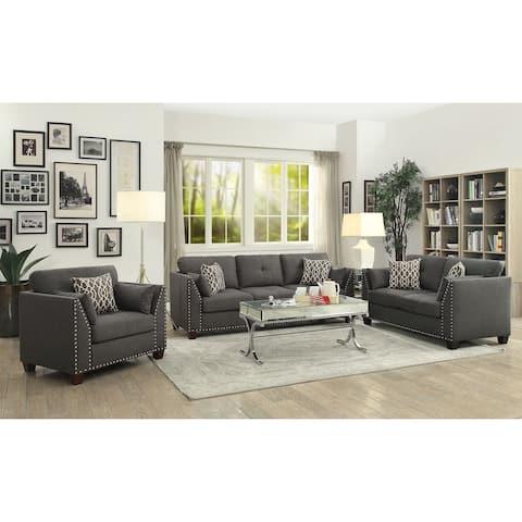 ACME Laurissa Chair w/3 Pillows, Light Charcoal Linen