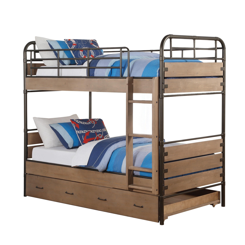 Acme Adams Twin Bunk Bed Trundle Antique Oak