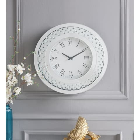 ACME Nysa Wall Clock, Mirrored & Faux Crystals