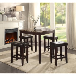 ACME Ainsley 5Pc Pack Counter Height Set, Faux Marble, Black PU & Cherry