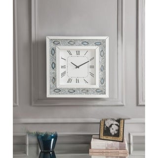 ACME Sonia Wall Clock, Mirrored & Faux Agate