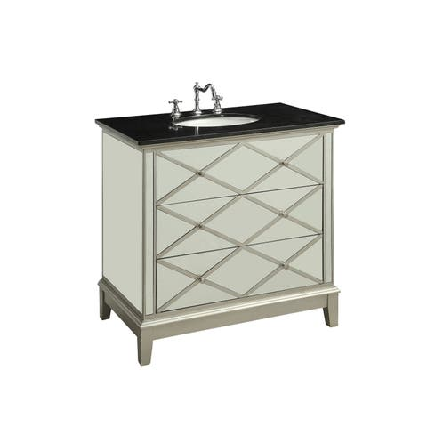 ACME Dinia Sink Cabinet, Black Marble & Mirrrored