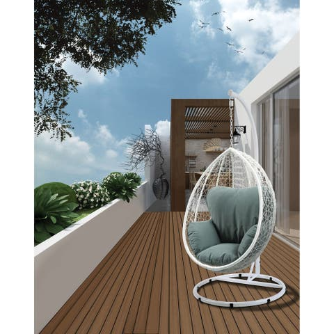 ACME Simona Patio Swing Chair with Stand, Green Fabric & White Wicker