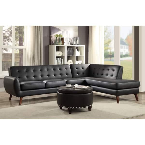Astonishing Shop Acme Essick Ii Sectional Sofa Black Pu Free Shipping Cjindustries Chair Design For Home Cjindustriesco