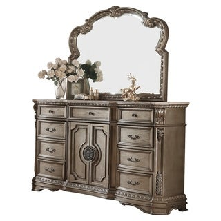 ACME Northville Dresser w/Marble Top, Antique Champagne