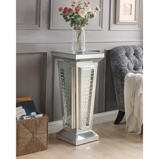 ACME Nysa Pedestal Stand, Mirrored & Faux Crystals