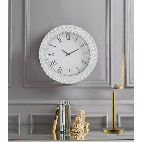 ACME Lantana Wall Clock, Mirrored & Faux Crystals