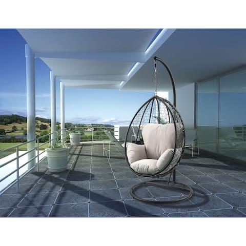 ACME Simona Patio Swing Chair with Stand, Beige Fabric & Black Wicker