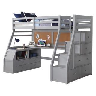 ACME Jason II Loft Bed & Storage Ladder, Gray Size - Twin