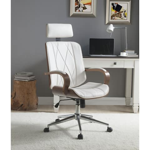 ACME Yoselin Office Chair, White PU & Walnut