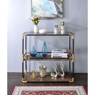ACME Heleris Console Table, Black/Gold & Smoky Glass