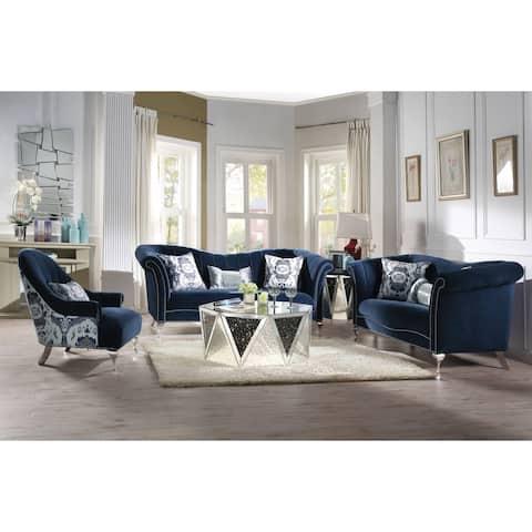 ACME Jaborosa Chair w/1 Pillow, Blue Velvet