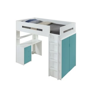 ACME Nerice Loft Bed, White & Teal Size - Twin