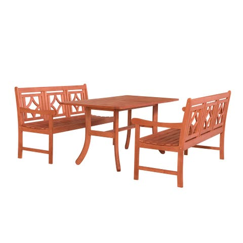 Hydaburg Outdoor 3-piece Wood Curvy Legs Table Dining Set by Havenside Home