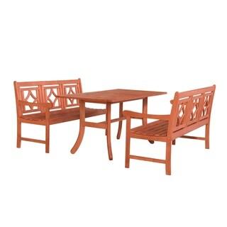 Havenside Home Hydaburg Outdoor 3-piece Wood Curvy Legs Table Dining Set
