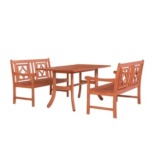 Havenside Home Hydaburg Outdoor 3-piece Wood Table Dining Set