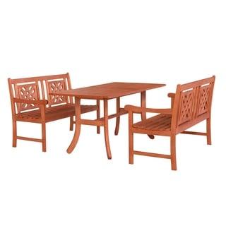 Malibu Outdoor 3-piece Wood Patio Curvy Legs Table Dining Set
