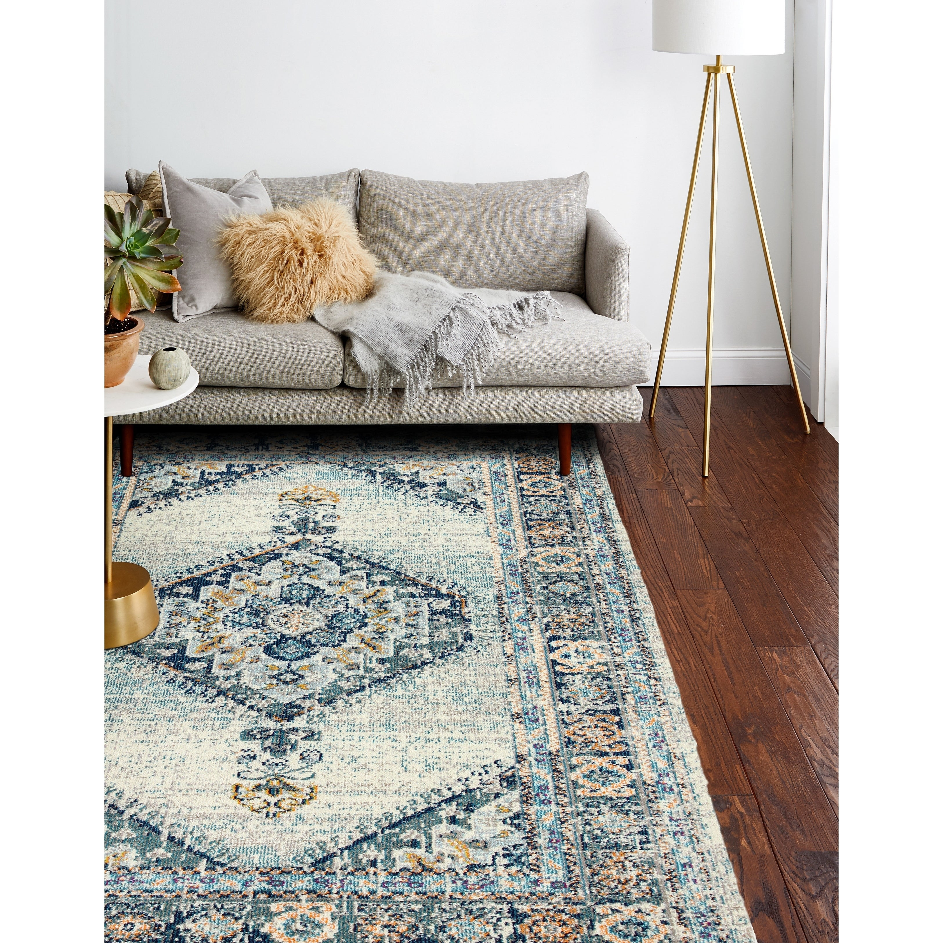 Porch Den Eliza Ivory Blue Power Loomed Area Rug Overstock 26055629