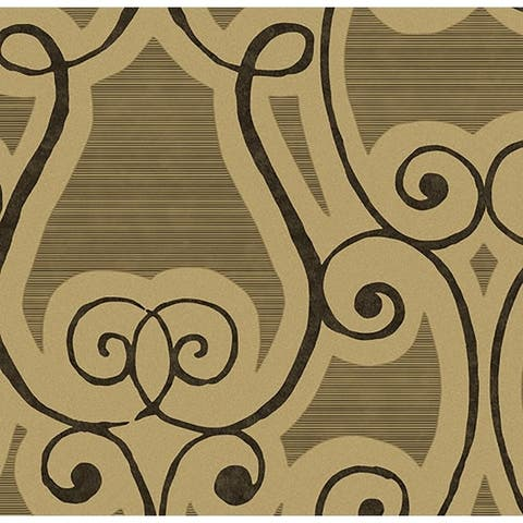 Harmony Damask Brown Wallpaper
