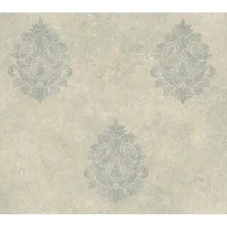 Baroque Damask Grey Wallpaper