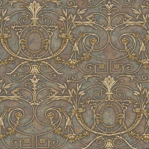 Brown Andria Ironwork Wallpaper