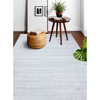 Hand Loomed Zari  Wool And Viscose Rug