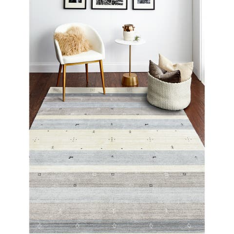 Hand Loomed Zady Ivory/Grey Wool And Viscose Rug