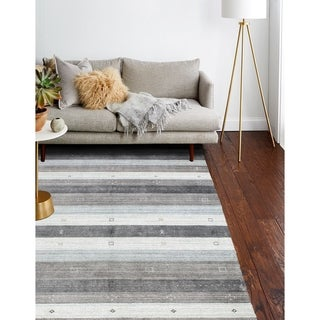 Hand Loomed Zabie Grey Wool And Viscose Rug