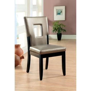 Evant I Black and Silver Finish Leatherette Contemporary Side Chair