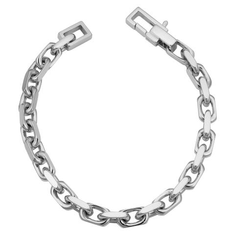 Rhodium Plated Sterling Silver Flat Oval Link Bracelet (8.5 inch)