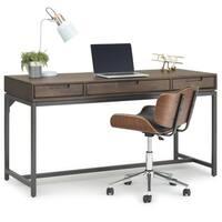 WYNDENHALL Devlin Solid Hardwood Modern Industrial 60 inch Wide Desk in Walnut Brown