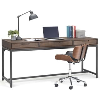 WYNDENHALL Devlin Solid Hardwood Modern Industrial 72 inch Wide Wide Desk in Walnut Brown