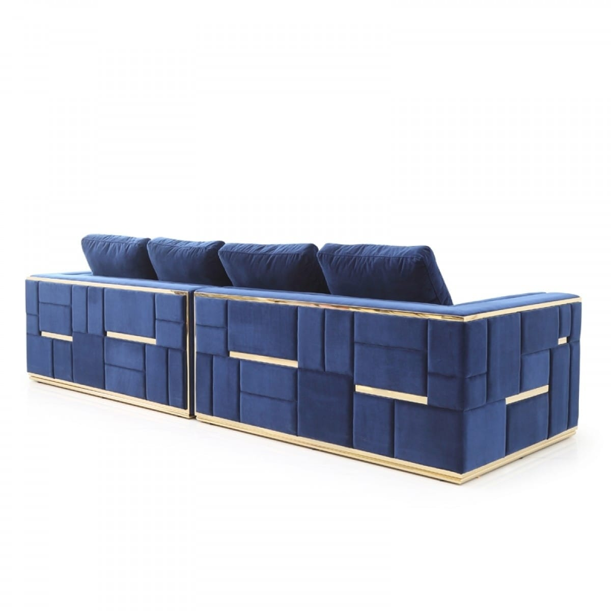 Amazing Divani Casa Euclid Modern Blue Velvet Gold Large Sofa Gmtry Best Dining Table And Chair Ideas Images Gmtryco