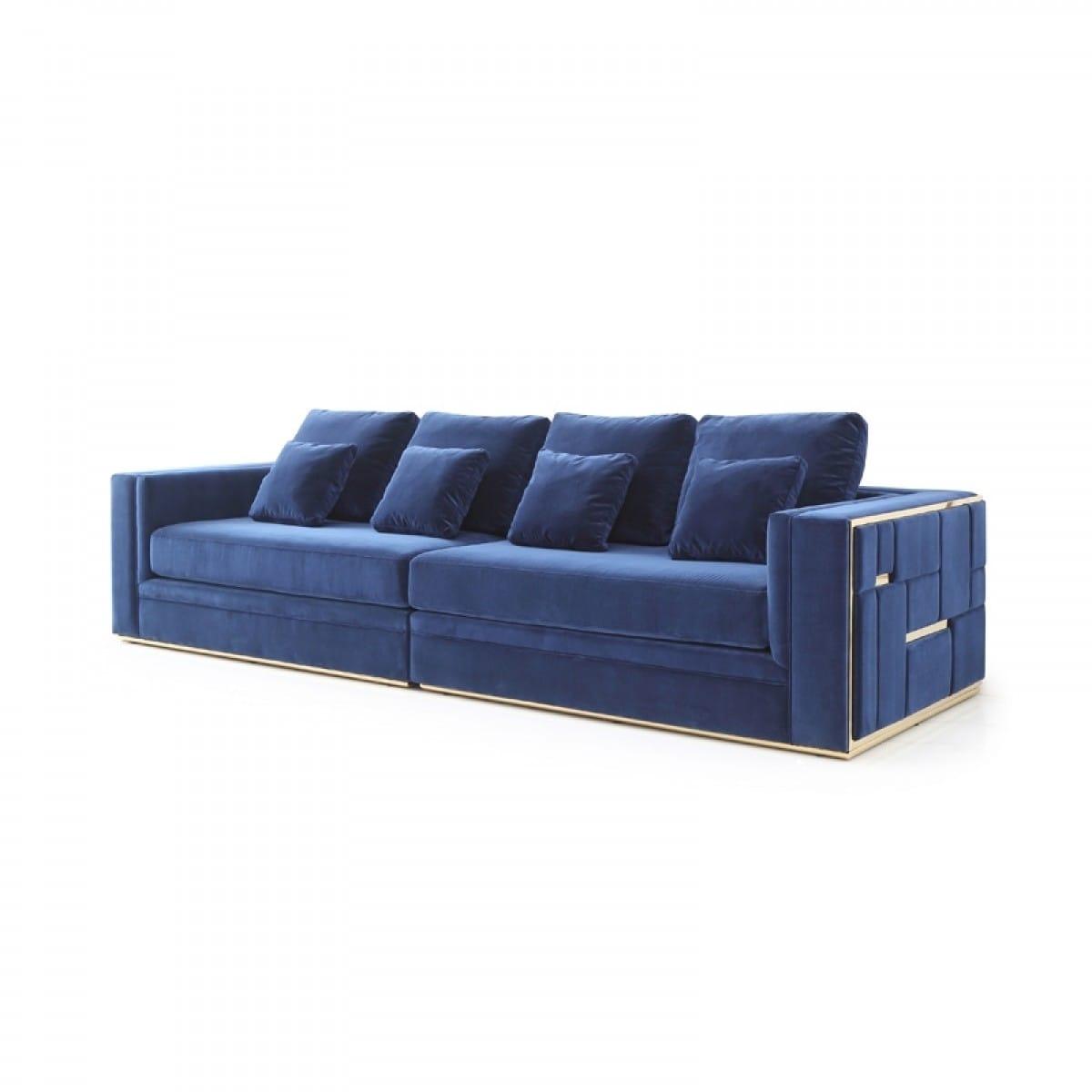 Divani Casa Euclid Modern Blue Velvet & Gold Large Sofa