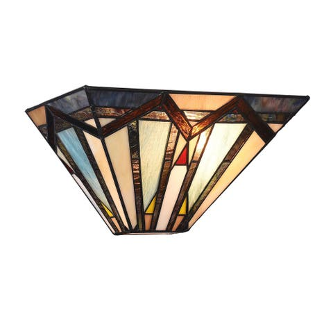 Copper Grove Ozalj Tiffany-style Mission 1-light Textured Black Wall Sconce