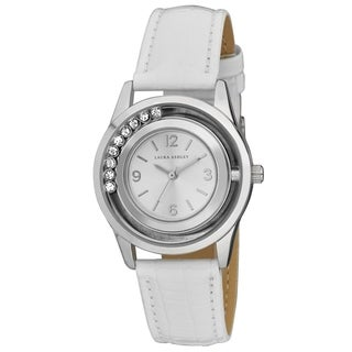 Laura Ashley Ladies Silver Round Floating Stones White Teju Strap Womens Watch - One size