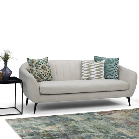 "WYNDENHALL Rayel Mid Century Modern 75 inch Wide Sofa in Natural Fabric - 74.8""W x 29.5""H x 31.5""D"