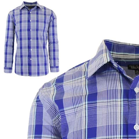 Galaxy by Harvic Men's Long Sleeve Slim-Fit Casual Cotton Dress Shirts